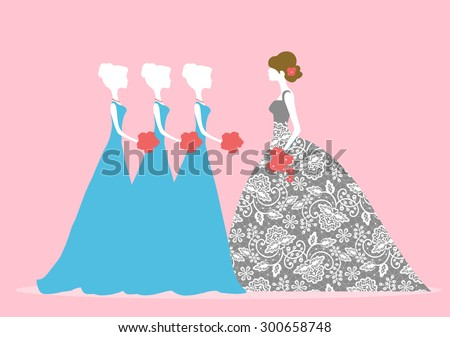 Vector illustration of bride with bridesmaids - stock vector