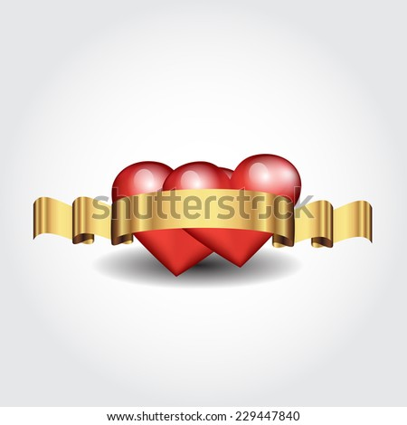 Vector illustration of bright and glossy vector heart with a golden ribbon - stock vector