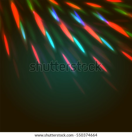 Vector illustration of bright bokeh shining flares of street evening lights, fireworks and disco ball sparkles.