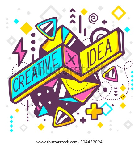 Vector illustration of bright creative and idea quote on abstract background. Hand draw line art design for web, site, advertising, banner, poster, board and print. - stock vector
