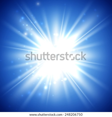 vector illustration of bright flash, explosion or burst on the blue background - stock vector