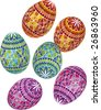 Vector illustration of bright painted Easter eggs in Ukrainian folk style - stock vector