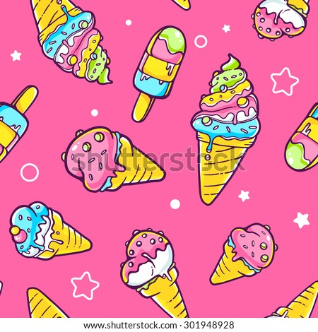 Vector illustration of bright pattern of yellow, blue and green ice creams on pink background with stars. Hand drawn line art design for web, site, advertising, banner, poster, board and print.   - stock vector