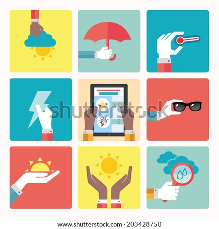 vector illustration of brightly colored icons weather - stock vector