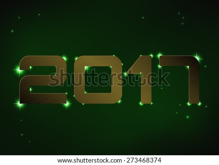 Vector illustration of bronze metallic number 2017 over green night sky - stock vector