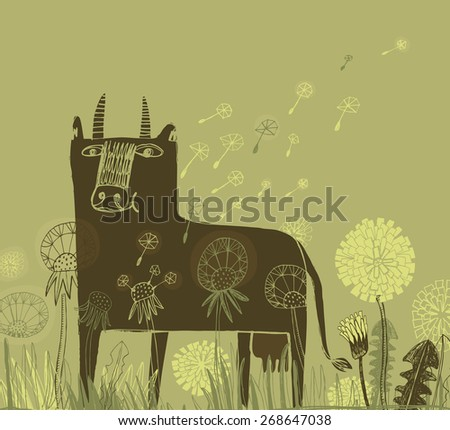 Vector illustration of brown cow in the field of dandelions  - stock vector