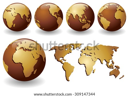 Vector illustration of brown globes with golden continents