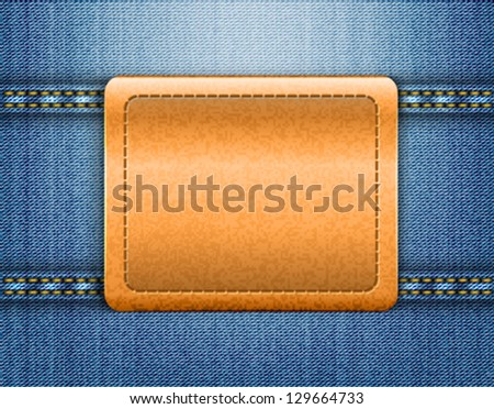 Vector illustration of brown leather label on blue jeans background