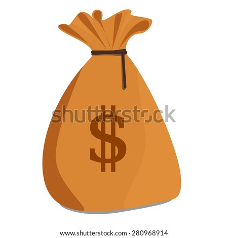 Vector illustration of brown money sack with dollar symbol. Money bag icon