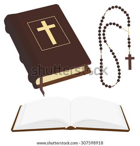 Vector illustration of brown opened and closed Holy Bible and rosary beads with cross. - stock vector