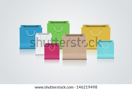 Vector illustration of brown paper bag. Elements are layered separately in vector file. - stock vector