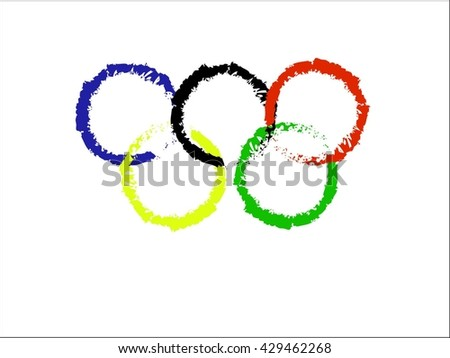 Vector illustration of brush painted olympic rings over white background. - stock vector