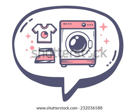 Vector illustration of bubble with icon of pink washing machine on white background. Line art design for web, site, advertising, banner, poster, board and print. - stock vector