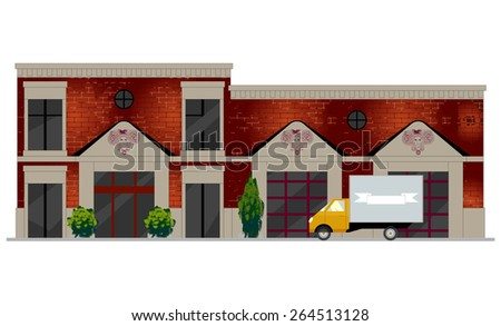 Vector illustration of building facade. Facade view of old brick building with showcases and molding. Can be used as hospital, hotel, mall, pastry shop, or dwelling house for games and mobile apps.   - stock vector