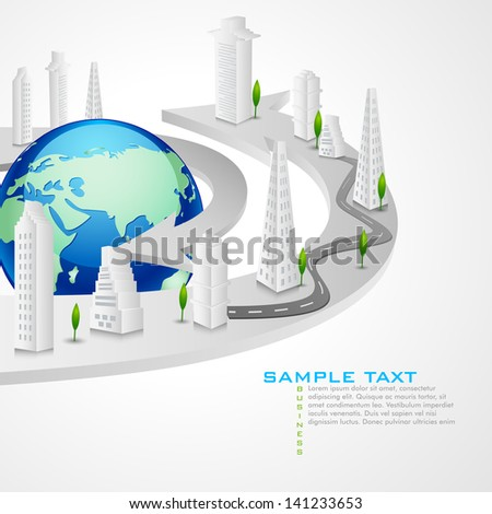 vector illustration of buildings around Earth