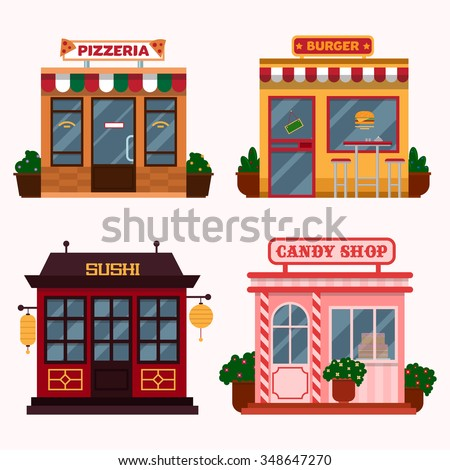 Vector illustration of  buildings that are restaurants, cafe, fast food. Italian pizzeria, american burger shop, Japanese sushi, candy shop - stock vector