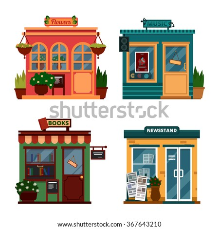 Vector illustration of buildings that are shops for buying decorations and leisure accessories. Set of nice flat shops. Different Showcases - Flowers, music, books, newsstand with sound box. - stock vector