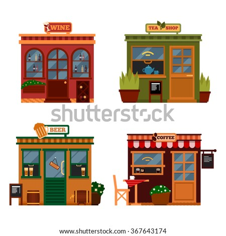 Vector illustration of buildings that are shops for buying food.  Set of nice flat shops. Different Showcases - Wine, tea shop beer bars, coffee shops with menu. - stock vector