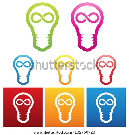 vector illustration of bulbs with infinite ideas - stock vector