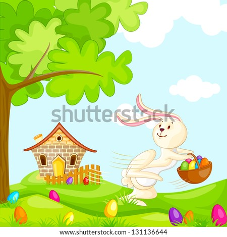 vector illustration of bunnies with colorful Easter egg - stock vector