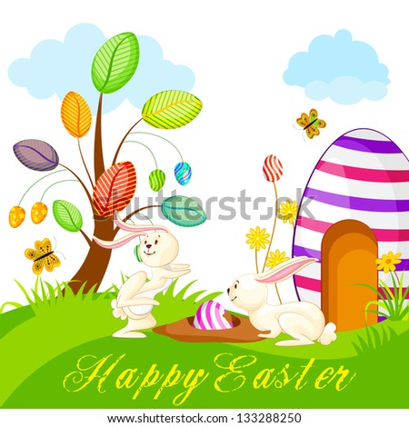 vector illustration of bunny hiding colorful Easter egg - stock vector