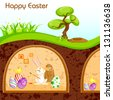 vector illustration of bunny painting Happy Easter egg in - stock photo