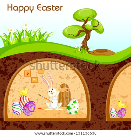 vector illustration of bunny painting Happy Easter egg in - stock vector