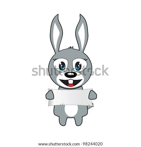 vector illustration of bunny with a sign - stock vector