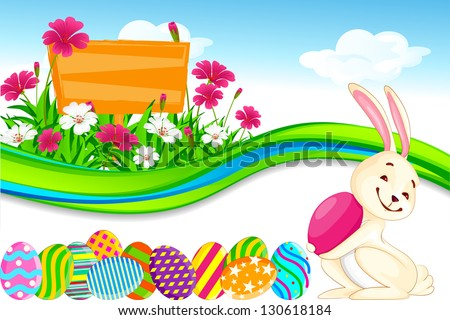 vector illustration of bunny with Easter egg in flower garden - stock vector