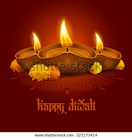 Vector illustration of burning oil lamp diya on Diwali Holiday, ancient Hindu festival of lights, decorated with flowers. Original calligraphic inscription Happy Diwali and space for your text. - stock vector