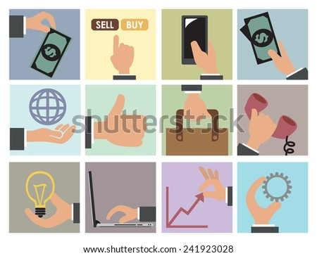Vector illustration of business and commercial concept vector icon set - stock vector