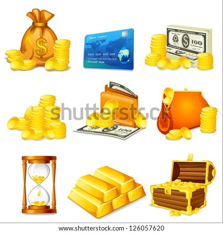 vector illustration of business and money related object - stock vector