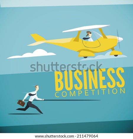 Vector illustration of business competition - stock vector