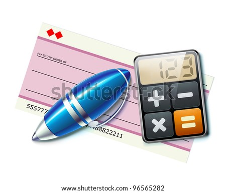 Vector illustration of business concept with bank check, elegant ballpoint pen and calculator icon - stock vector