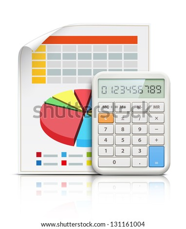 Vector illustration of business concept with finance graphs and electronic calculator - stock vector