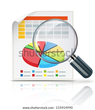 Vector illustration of business concept with finance graphs and magnifying glass - stock vector