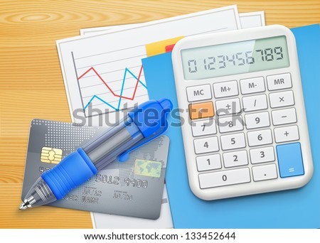 Vector illustration of business concept with finance graphs, credit card, blue ballpoint pen and electronic calculator - stock vector