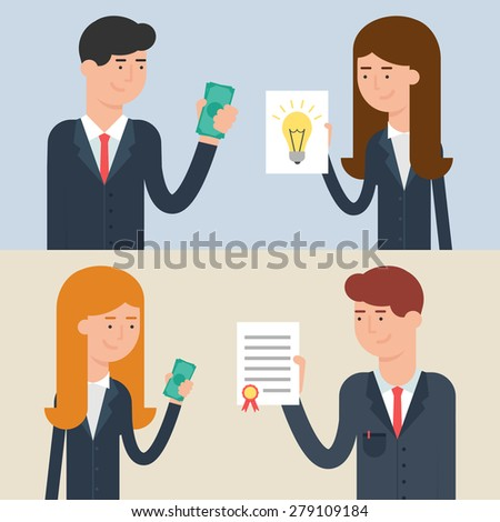 Vector illustration of business deals - investment, patenting, buying and selling ideas, conclusion of a contract - stock vector