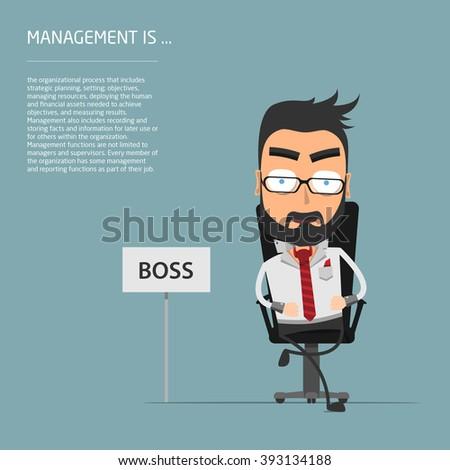 Vector illustration of Business Executive sitting on chair - stock vector