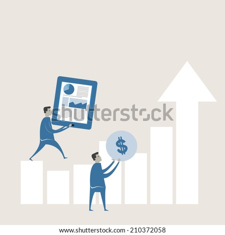 Vector illustration of business forecasting graph  - stock vector