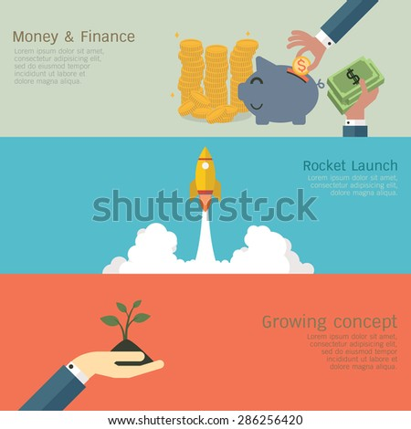 Vector illustration of business growing concept set, money and finance, rocket launch, hand with growing sprout. Flat design.  - stock vector
