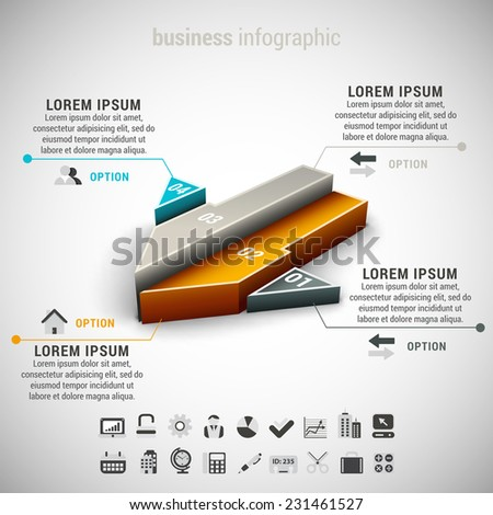 Vector illustration of business infographic made of arrow.