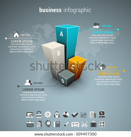 Vector illustration of business infographic made of chart and world map. - stock vector