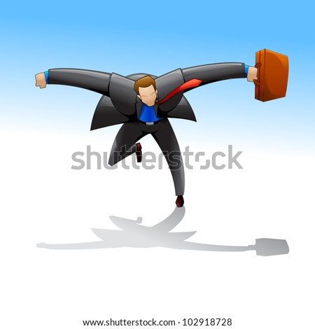 vector illustration of business man running with briefcase - stock vector