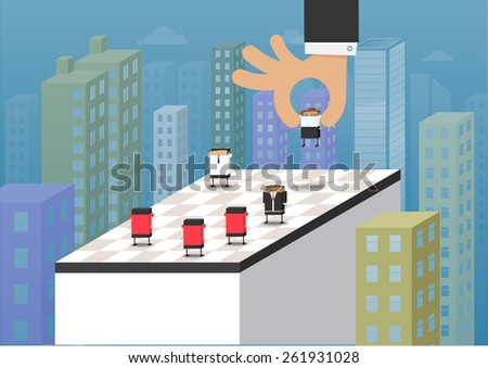 Vector illustration of business people standing on chess board ,  playing chess  ,smart business,Marketing strategies - stock vector