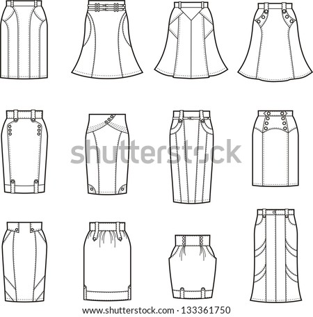 Vector illustration of business skirts - stock vector