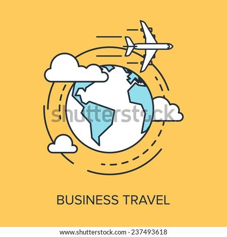 Vector illustration of business travel flat line design concept. - stock vector