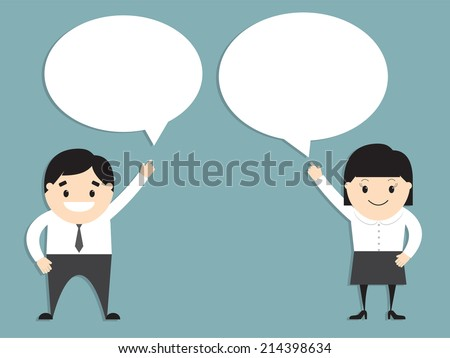 Vector illustration of businessman and businesswoman with speech bubbles. Flat design