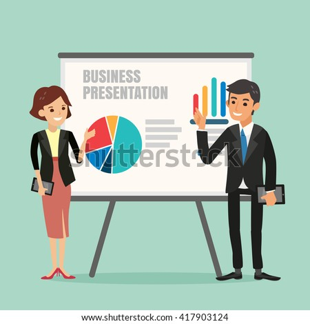 vector illustration of businessman and woman making a presentation in front of a board - stock vector