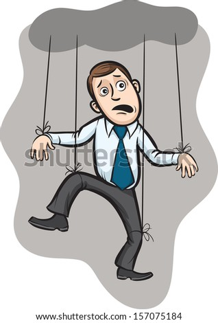 Vector illustration of Businessman as a puppet on strings. Easy-edit layered vector EPS10 file scalable to any size without quality loss. High resolution raster JPG file is included. - stock vector